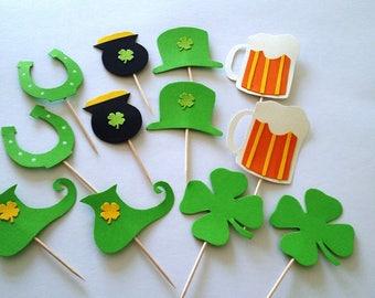Saint Patrick's day cupcake toppers, cake decorations, St patrick set 12 pieces