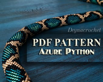 PDF Pattern for beaded crochet necklace - Jewelry patterns - Python pattern - Azure necklace