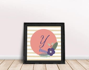 Baby Initial Decor Y | Printable Poster, Letter Floral Wreath, Floral Wreath Letter, Name Letter Poster, Floral Letter