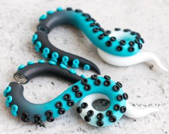 Sea Ear Gauges, Fake Plugs, Tentacle Gauges, Octopus Earrings, Ocean Ear Plugs, Faux Gauges, Dangle Plugs, Disney Earrings
