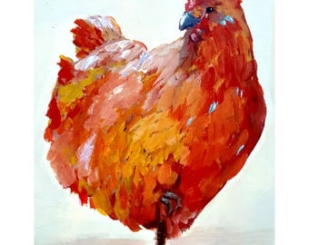 "SALE - Little Red Hen  Kitchen Chicken ART portrait 12 point heavy stock paper PRINT rooster painting 11""x14"""