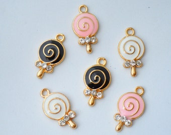 2 Pcs Lollipop with Rhinestone Charms Enamel Gold Plated Charms 10x18mm - C113