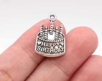 6 Pcs Happy Birthday Charm Birthday Cake Charms Pendants Antique Silver Tone 15x22mm - YD0723