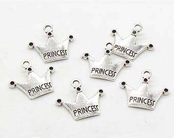 Bulk 50 Pcs Princess Crown Charms Crown Pendant Antique Silver Tone 18x20mm - YD0265