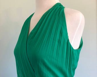 Jones New York Emerald Green Halter Accordion Pleated Dress