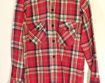 Vintage FROSTPROOF 100% Sanforized Cotton Flannel Shirt sz Small 1960s Nice One