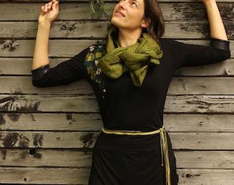 CHANDAIL NOIR appliqué mosaïques vertes-chandail en bambou-faux-cuir-col en V-chandail passe-partout-confortable-