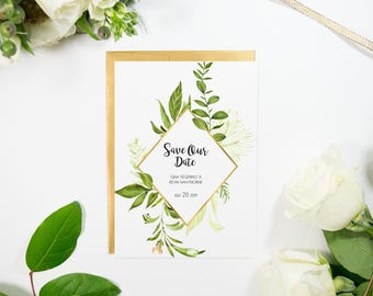 Gold and Green Save the Date, Gold Foil, Green Florals, Wedding, Handmade