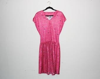 VINTAGE 80's Pink Patterned Dress