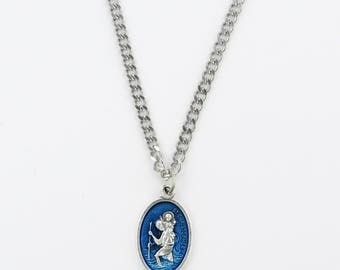 """BLUE St. CHRISTOPHER Medal Pendant Necklace Patron Saint Travel 24"""" Chain  ITALY Saint Christopher Chris Silver Plate Necklace in Box"""