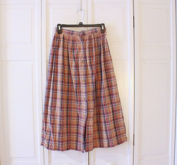 Vintage L.L.Bean plaid cotton maxi skirt brown tan red & blue