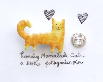 Marmalade Cat, Marmalade Cat Pin, Ginger Cat Lapel, Orange Tabby Cat, Cat Lapel Pin, Cat Lover Pin