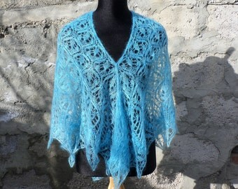 Turquoise hand knit lace mohair shawl knit triangular shawl.