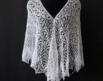 White hand knit lace mohair shawl knit wedding triangular shawl.