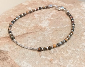 Brown bracelet, jasper bracelet, dainty bracelet, gemstone bracelet, noodle bracelet, sterling silver bracelet, Hill Tribe silver