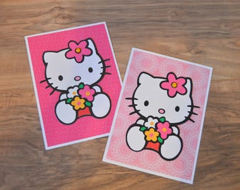 Hello Kitty Greeting Cards (Set of 2) - Handmade Cards - Pink & Floral Hello Kitty