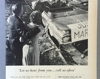 """1961 Lot of 2 Bell Telephone System Print Ads for Long Distance - """"Welcomes are warmer when you call ahead"""""""