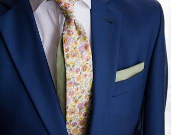 Pastel floral men's skinny tie, Floral cotton necktie, Orange green necktie, Summer wedding tie, Tropical wedding necktie, lilac floral tie