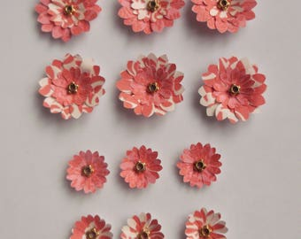 Pack of 12 Paper Flowers, Flower Embellishments, Flower Card Toppers, Craft Flowers, Craft Embellishments, Scrapbook Flowers, Paper Craft