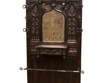 Beautiful and Well Carved Antique French Gothic Hall Rack / Hall Tree, Narrow, 1890's #7587