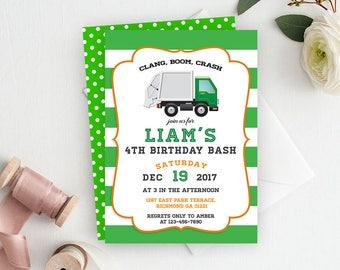 Garbage Truck Invitation, Garbage Truck Birthday, Garbage Truck Party, Trash Truck, Garbage Birthday, Truck, Printable Invitation, Trash