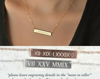 Roman Numeral Necklace, Bar Necklace, Custom Bar Necklace, Gold Bar Necklace, Date Necklace, Wedding date, anniversary date