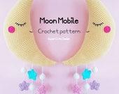 Moon Mobile PDF Pattern, crochet, amigurumi