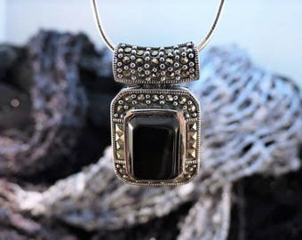 Onyx and Marcasite Sterling Silver Necklace