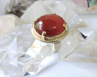 Gold and Sterling Silver Ring Carnelian Gemstone Ring /Size 6.5