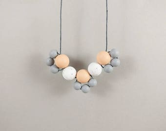 Baby Friendly Silicone Necklace - Peach Granite Grey  | New Mum Gift | Geometric Necklace | Baby Shower Gift | Chewelry | Soother | Teething