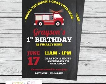 First Birthday Invitation - Fire Truck Party - Fireman Birthday Party - Fire Fighter Birthday Party - Printable 1st Birthday Invitation
