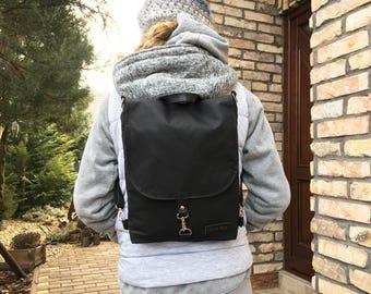 "Black Minimalist Waxed Canvas Backpack, Solid Black Water Repellent Rucksack, Solid Functional Crossbody Bag, 11"" Macbook Backpack"