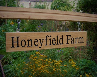 Double Sided Long Oak House Name Sign with Chain Hanging Kit/Farm Sign/Business Sign/House Warming