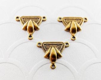 3Pcs Brass Fleur de lis 3 ring connectors, Fleur de lis connector #A40
