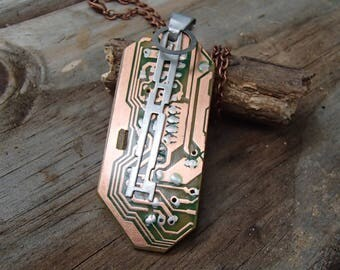 REcycled Circuit Board Pendant. Copper circuitry. Accent dangle of Aluminum Computer Parts. Chain included. Unique! FREE SHIP in U.S.!