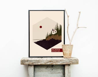 Acadia National Park Poster – Acadia National Park - Travel Poster - Hiking - Traveler Gifts Men – Vintage Poster – New England