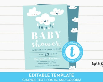 Printable Baby Shower Invitation - Rain Cloud Baby Shower Invitation - Boy Baby Shower Invitation - Baby Shower Invitation Template