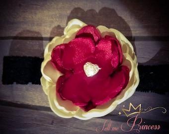 Satin singed flower headband