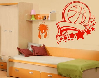 Wall Vinyl Decal  Victory Ribbon Stars Sport Healthy Basketball Decoration (#2446dn)