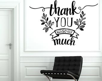 Wall Vinyl Decal Thank-Phrase Quotes Thank You So Much Living Room Decor (#2495dn)