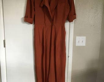 vintage womens jumpsuit bodysuit romper rust orange plunging neckline size 12