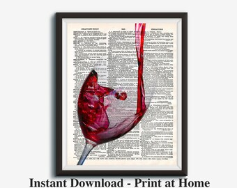 Wine Art, Wine Gift, Dictionary Art Print, Wine Artwork, Red Wine Wall Part 52