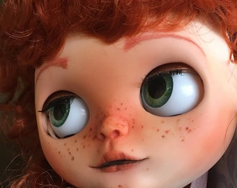 Custom Blythe Factory Doll, OOAK, Celtic Redheaded Customized Blythe with Freckles