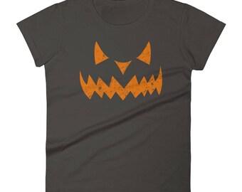 Pumpkin Face Halloween Shirts | Womens Halloween | Jack O' Latern Shirt | Pumpkin T-Shirt | Ladies Halloween Shirt | Halloween For Women