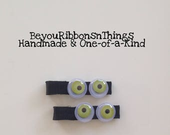 Wiggly Green Eyes | Hair Clips for Girls | Toddler Barrette | Kids Hair Accessories | Black Grosgrain Ribbon | No Slip Grip | Halloween