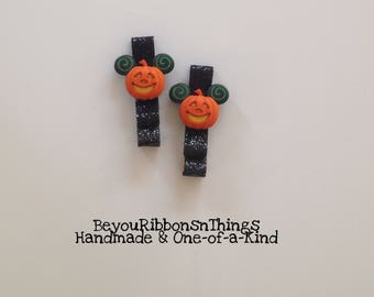 Cartoon Pumpkins | Hair Clips for Girls | Toddler Barrette | Kids Hair Accessories | No Slip Grip | Halloween