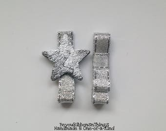 Silver Star Duo   Hair Clips for Girls   Toddler Barrette   Baby Hair Clips   Kids Hair Accessories   No Slip Grip   Christmas   Holidays