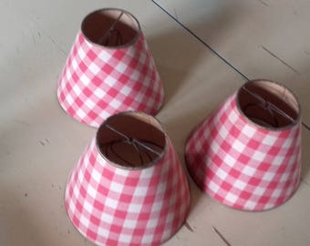 3 small lamp shade retro red gingham