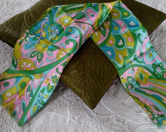 Vintage Mod Scarf Great Spring Colors/Pucci Inspired Print/1960s Neck Scarf Easter