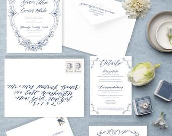 Customizable Wedding Invitation, Calligraphy Wedding Invitation, Floral Wedding Invitation, Floral Invitation, Custom Wedding Invitation